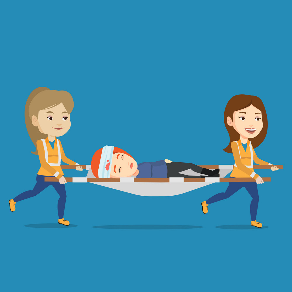 Caucasian emergency doctors transporting victim after accident on the stretcher. Team of emergency doctors carrying injured woman on medical stretcher. Vector flat design illustration. Square layout.