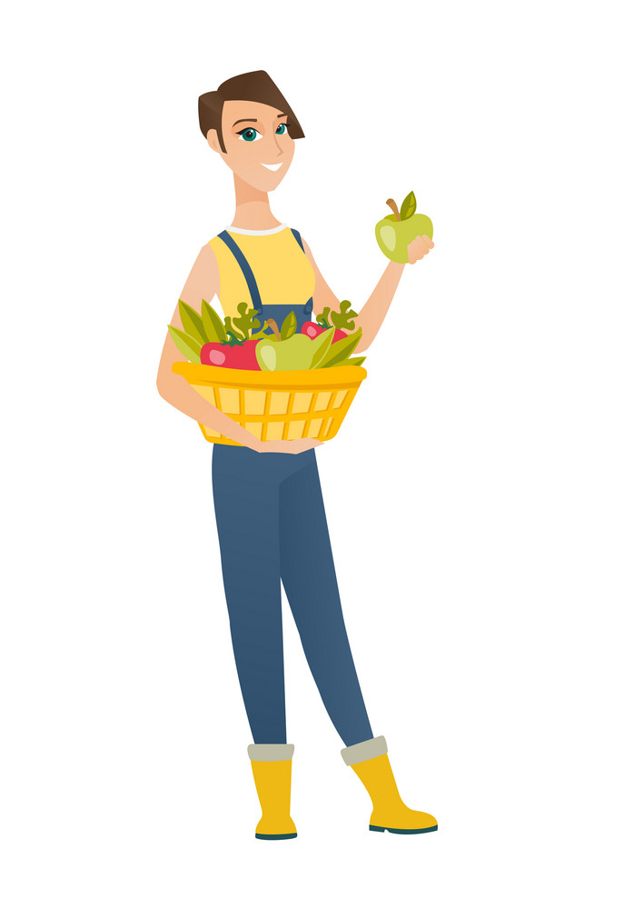 Caucasian farmer holding basket with fresh healthy harvest of vegetables and fruits. Farmer harvesting harvest of vegetables and fruits. Vector flat design illustration isolated on white background.