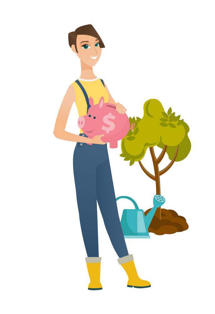 Caucasian farmer holding piggy bank with dollar sign on the background of tree and watering can. Full length of farmer with piggy bank. Vector flat design illustration isolated on white background.