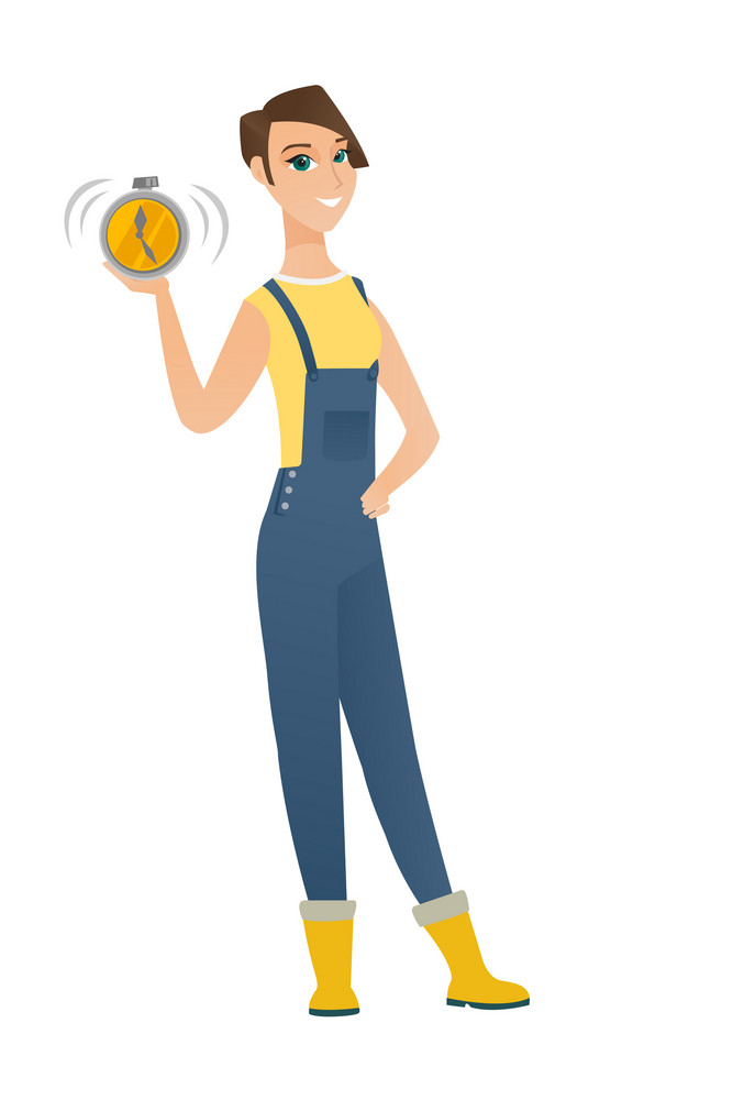 Caucasian farmer in coveralls showing ringing alarm clock. Full length of young farmer with alarm clock. Happy farmer holding alarm clock. Vector flat design illustration isolated on white background.
