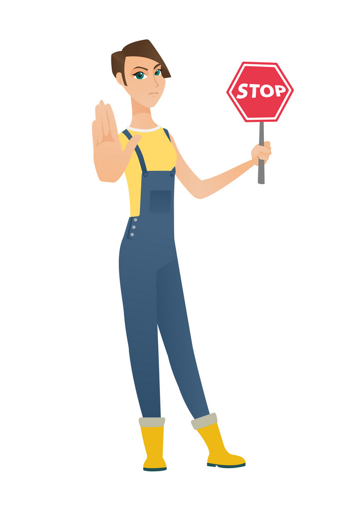 Caucasian farmer showing stop road sign. Full length of farmer in coveralls holding stop road sign. Serious farmer with stop road sign. Vector flat design illustration isolated on white background.