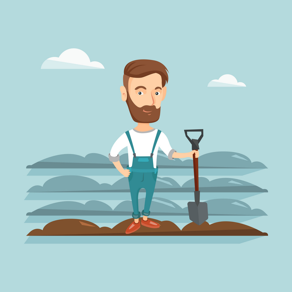 Caucasian farmer standing with shovel on the background of plowed field. Farmer working in field with a shovel. Farmer plowing field with a shovel. Vector flat design illustration. Square layout.