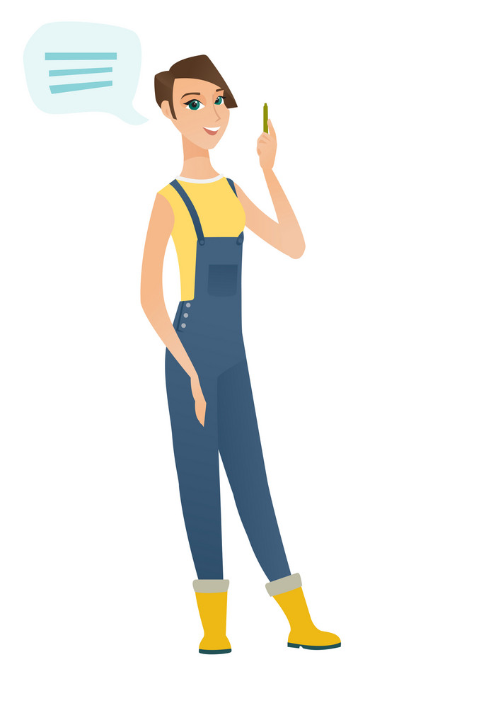 Caucasian farmer with speech bubble. Farmer in coveralls giving a speech on conference. Farmer with speech bubble coming out of her head. Vector flat design illustration isolated on white background.