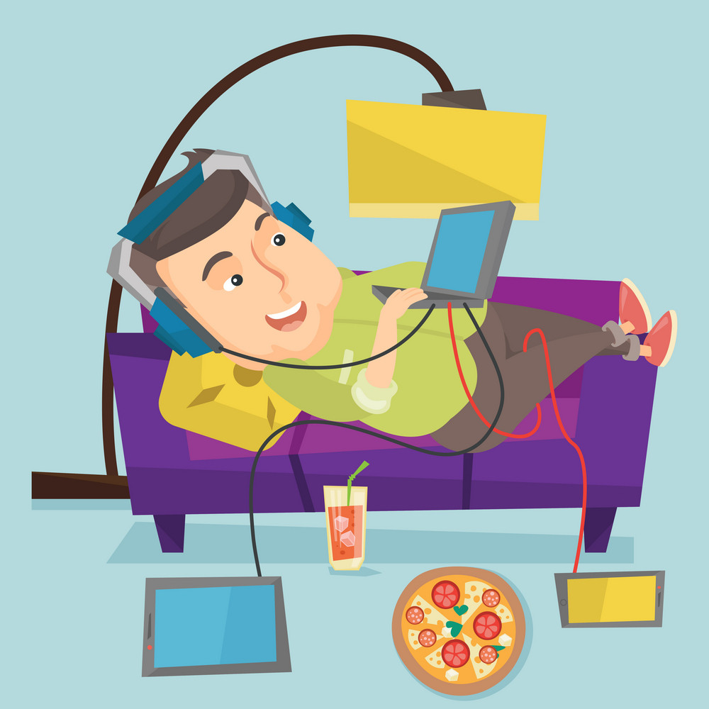 Caucasian fat man relaxing on a sofa with many gadgets. Man lying on a sofa surrounded by gadgets and fast food. Plump man using many gadgets at home. Vector flat design illustration. Square layout.
