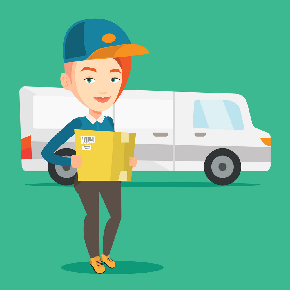 Caucasian female delivery courier holding box on the background of truck. Delivery courier carrying cardboard box. Delivery courier with box in hands. Vector flat design illustration. Square layout.