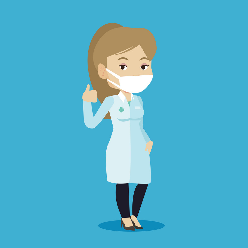 Caucasian female doctor in mask giving thumbs up. Female doctor in medical gown showing thumbs up gesture. Female doctor with gesture thumb up. Vector flat design illustration. Square layout.