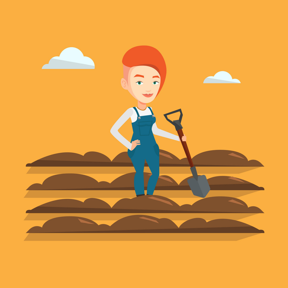 Caucasian female farmer standing with shovel on the background of plowed field. Woman working in field with a shovel. Woman plowing field with a shovel. Vector flat design illustration. Square layout.