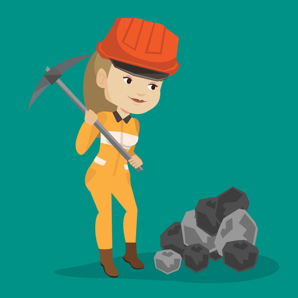 Caucasian female miner in hard hat working with a pickaxe. Female miner working at the coal mine. Young female miner at work. Vector flat design illustration. Square layout.