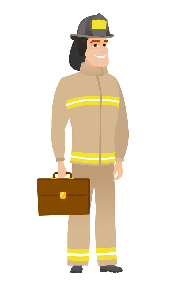 Caucasian firefighter holding briefcase. Full length of young firefighter with briefcase. Widely smiling firefighter holding a briefcase. Vector flat design illustration isolated on white background.