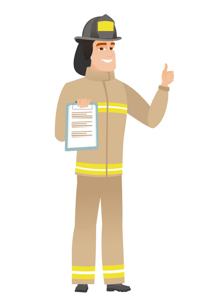 Caucasian firefighter holding clipboard and giving thumb up. Full length of firefighter with clipboard. Firefighter showing clipboard. Vector flat design illustration isolated on white background.