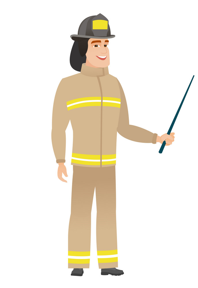 Caucasian firefighter holding pointer stick. Full length of young firefighter with pointer stick. Firefighter pointing with pointer stick. Vector flat design illustration isolated on white background.