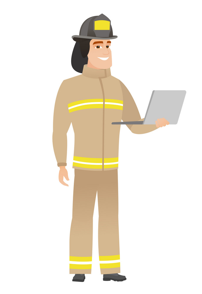 Caucasian firefighter in uniform using laptop. Full length of young firefighter working on a laptop. Cheerful firefighter holding laptop. Vector flat design illustration isolated on white background.