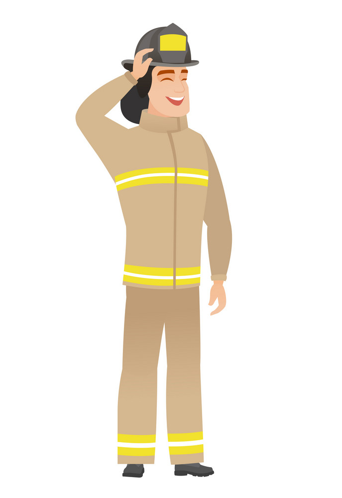 Caucasian firefighter in uniform. Young firefighter laughing with hand on his head. Firefighter in uniform laughing ant touching his hat. Vector flat design illustration isolated on white background.