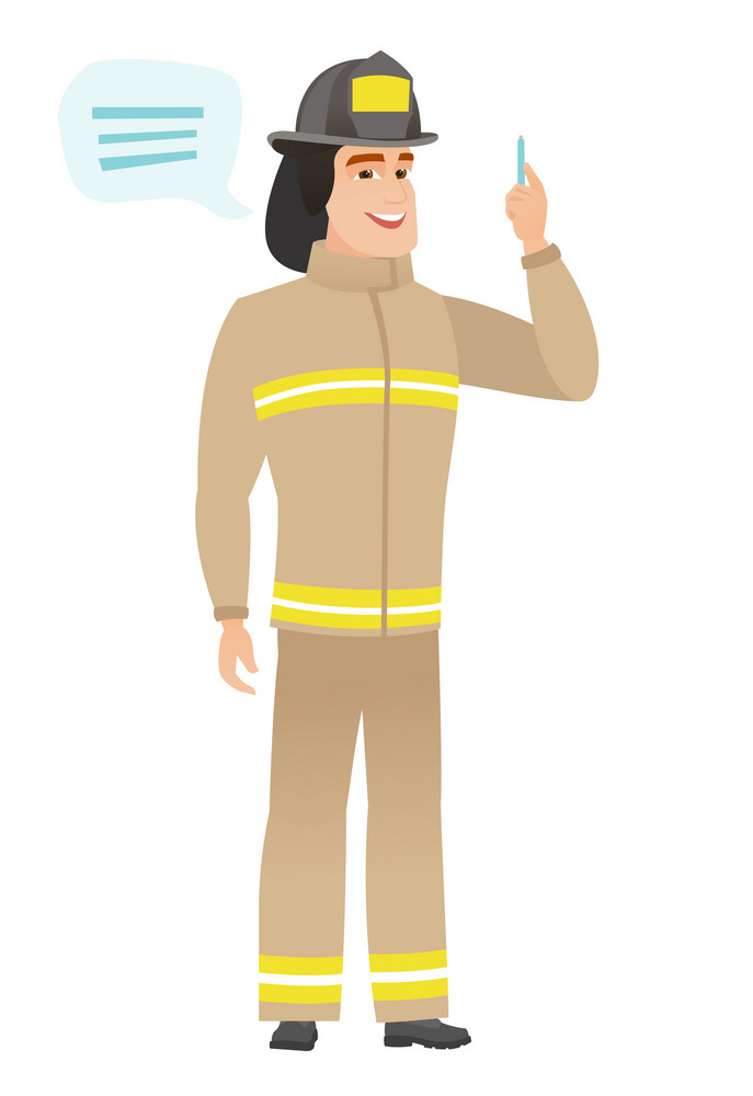 Caucasian firefighter with speech bubble. Firefighter giving a speech on conference. Firefighter with speech bubble coming out of his head. Vector flat design illustration isolated on white background