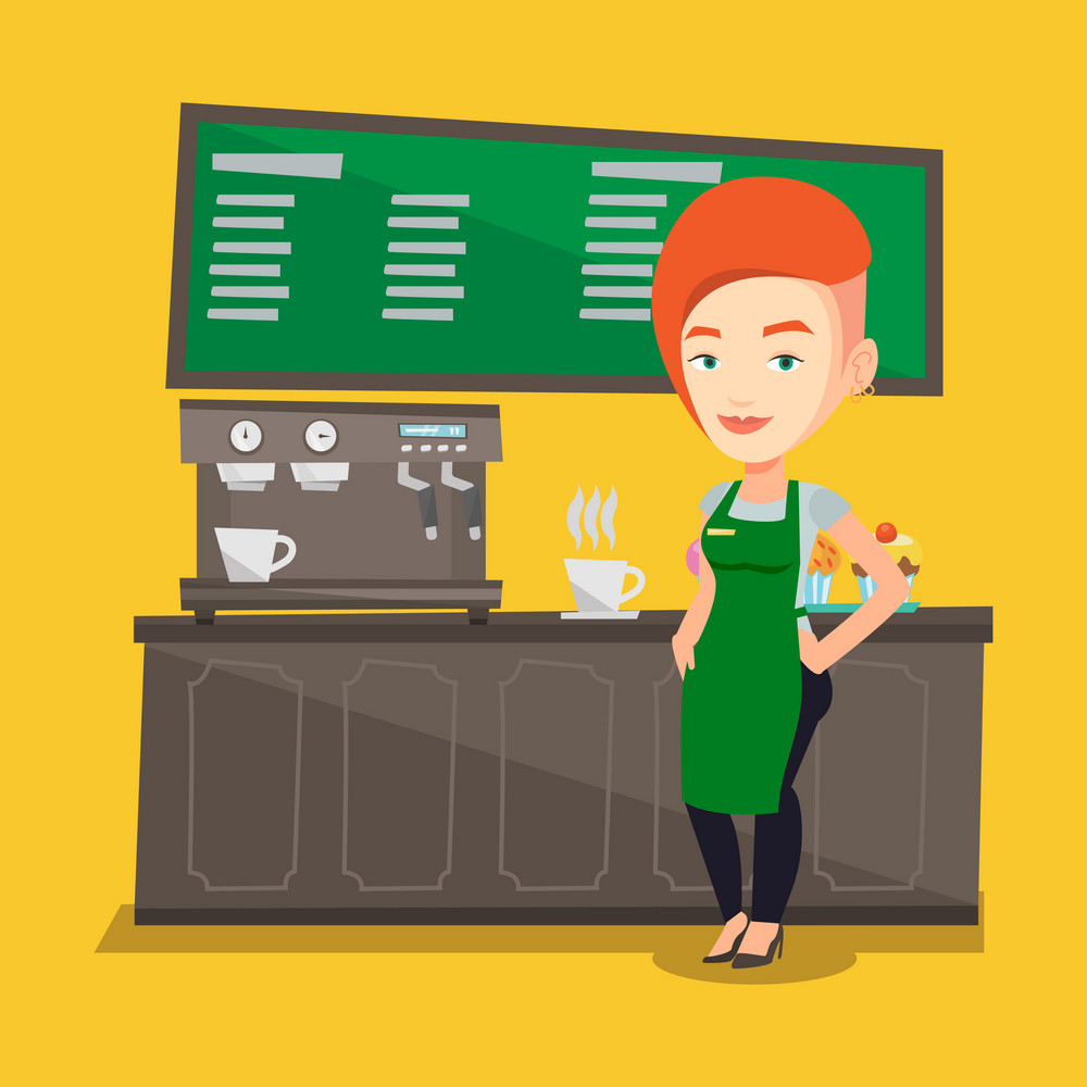 Caucasian friendly female barista sanding in front of coffee machine. Female barista at coffee shop. Female barista making a cup of coffee. Vector flat design illustration. Square layout.