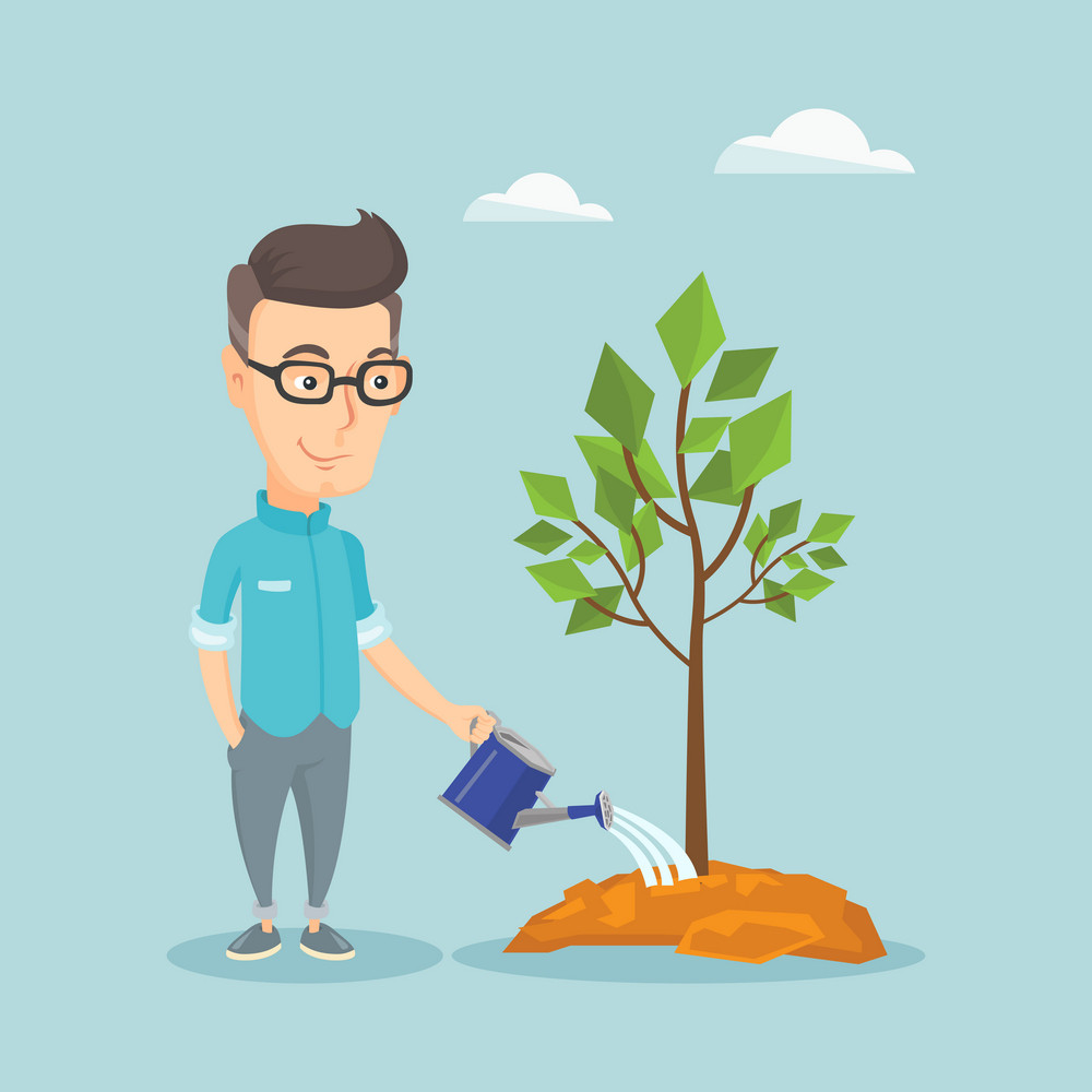 Caucasian friendly man watering tree. Gardener with watering can. Young man gardening. Concept of environmental protection. Vector flat design illustration. Square layout.