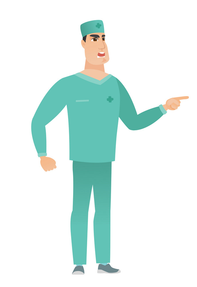 Caucasian furious doctor screaming and pointing his finger to the right. Full length of aggressive doctor screaming and shaking his finger. Vector flat design illustration isolated on white background