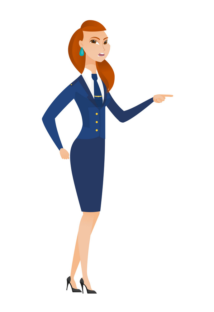 Caucasian furious stewardess screaming and pointing her finger to the right. Full length of stewardess screaming and shaking her finger. Vector flat design illustration isolated on white background.
