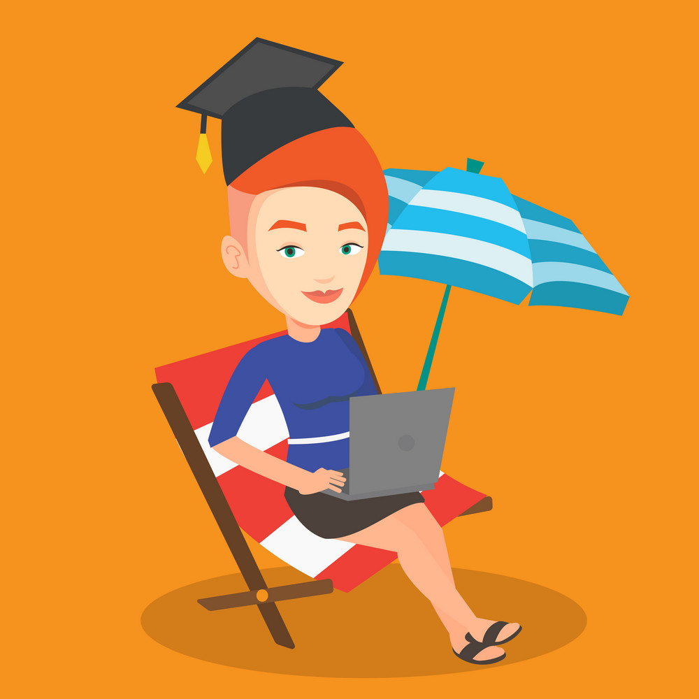 Caucasian graduate lying in chaise longue. Graduate in graduation cap working on laptop. Graduate studying on a beach. Concept of online education. Vector flat design illustration. Square layout.