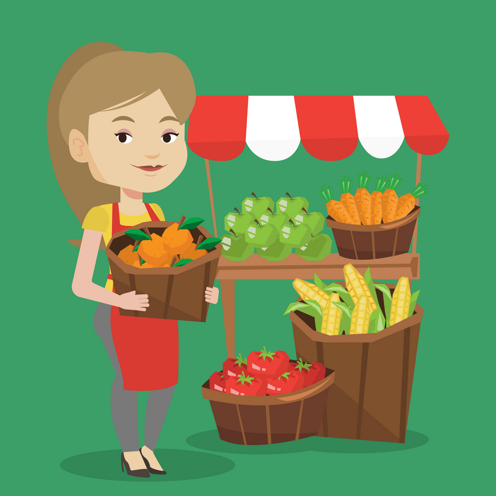 Caucasian greengrocer standing near stall with fruits and vegetables. Greengrocer standing near market stall. Greengrocer holding basket with fruits. Vector flat design illustration. Square layout.