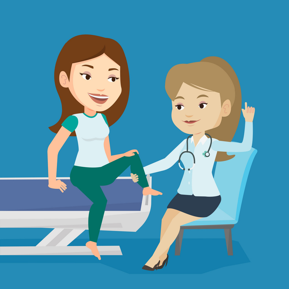 Caucasian gym doctor checking ankle of a patient. Physio therapist examining leg of young sports woman. Physio therapist giving a leg massage to patient. Vector flat design illustration. Square layout