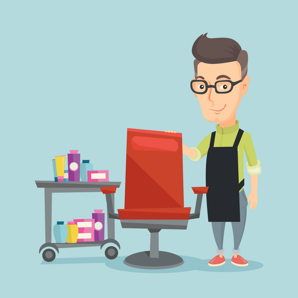 Caucasian hairdresser standing near armchair and table with cosmetics in beauty shop. Professional hairdresser standing at workplace in beauty salon. Vector flat design illustration. Square layout.