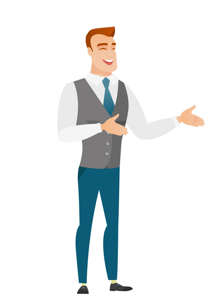 Caucasian happy business man gesturing. Full length of cheerful business man gesturing with his hands. Businessman laughing and gesturing. Vector flat design illustration isolated on white background.