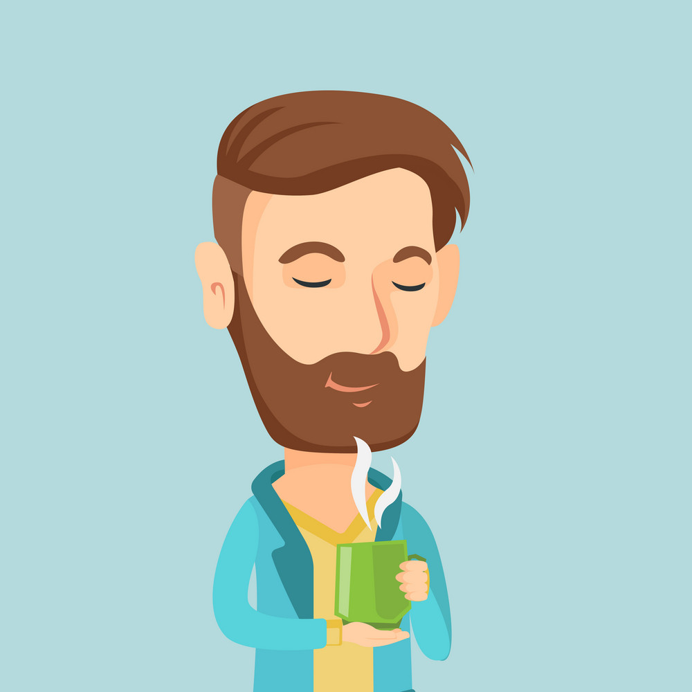 Caucasian happy man drinking hot flavored coffee. Young smiling man holding cup of coffee with steam. Man with his eyes closed enjoying fresh coffee. Vector flat design illustration. Square layout.
