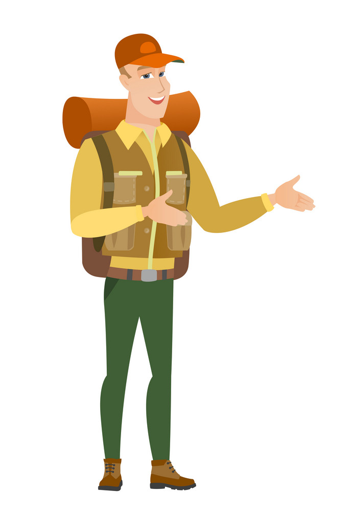 Caucasian happy traveler gesturing. Full length of cheerful traveler gesturing with his hands. Traveler laughing and gesturing. Vector flat design illustration isolated on white background.