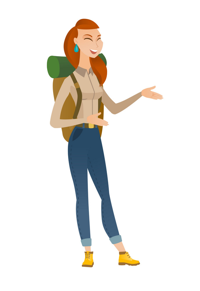 Caucasian happy traveler woman gesturing. Full length of cheerful traveler gesturing with her hands. Traveler laughing and gesturing. Vector flat design illustration isolated on white background.