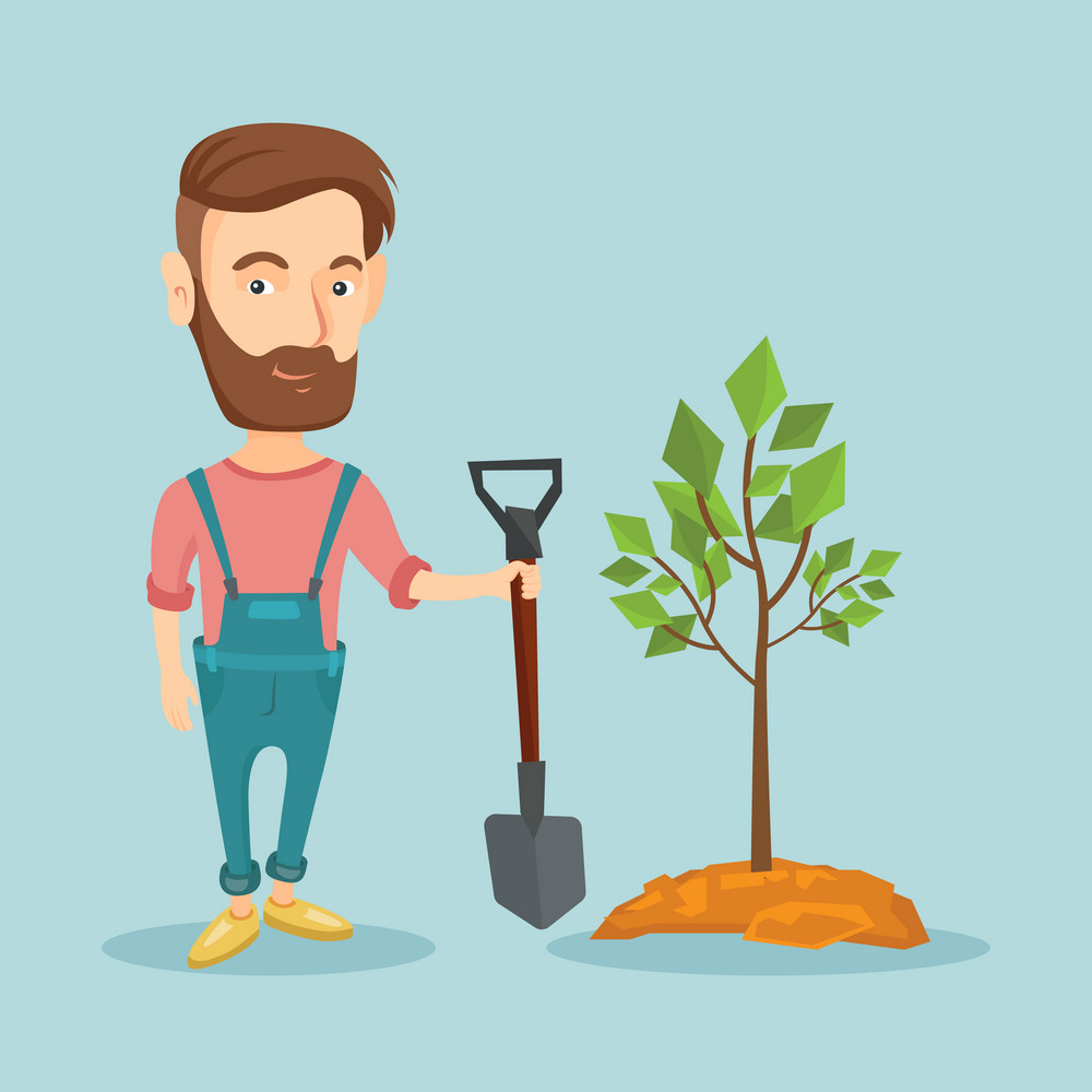 Caucasian hipster man plants a tree. Cheerful man standing with shovel near newly planted tree. Young man gardening. Environmental protection concept. Vector flat design illustration. Square layout.