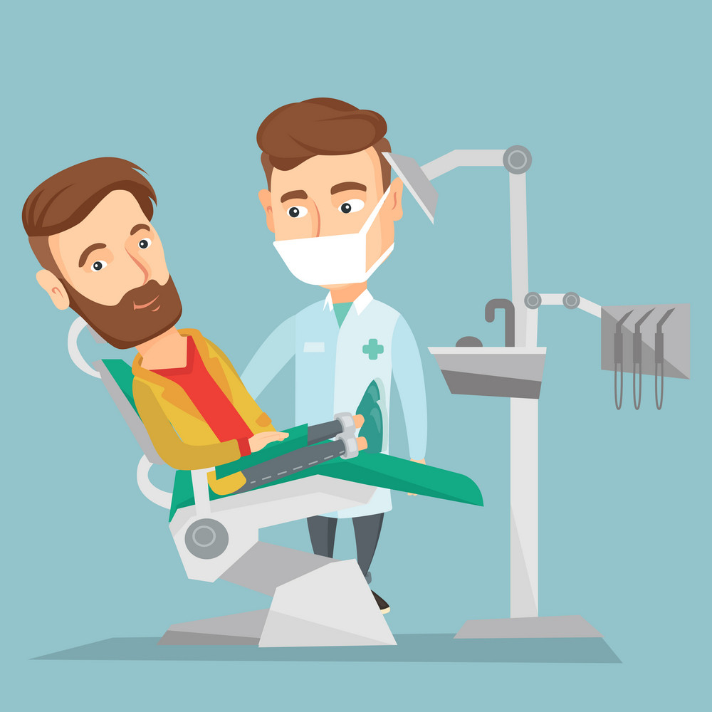 Caucasian hipster man sitting in dental chair while dentist standing nearby. Doctor and patient in dental clinic. Patient on reception at the dentist. Vector flat design illustration. Square layout.