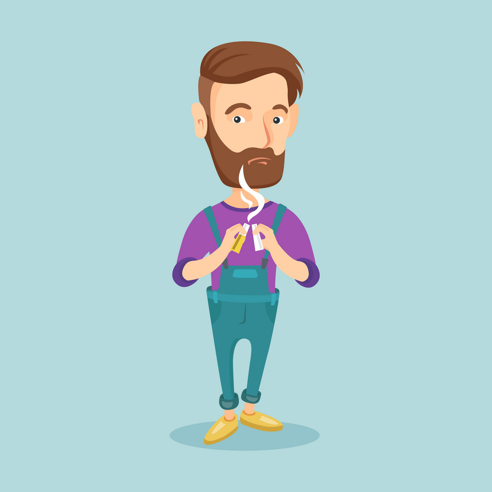 Caucasian hipster man with beard breaking the cigarette. Young man crushing cigarette. Sad man holding broken cigarette. Quit smoking concept. Vector flat design illustration. Square layout.