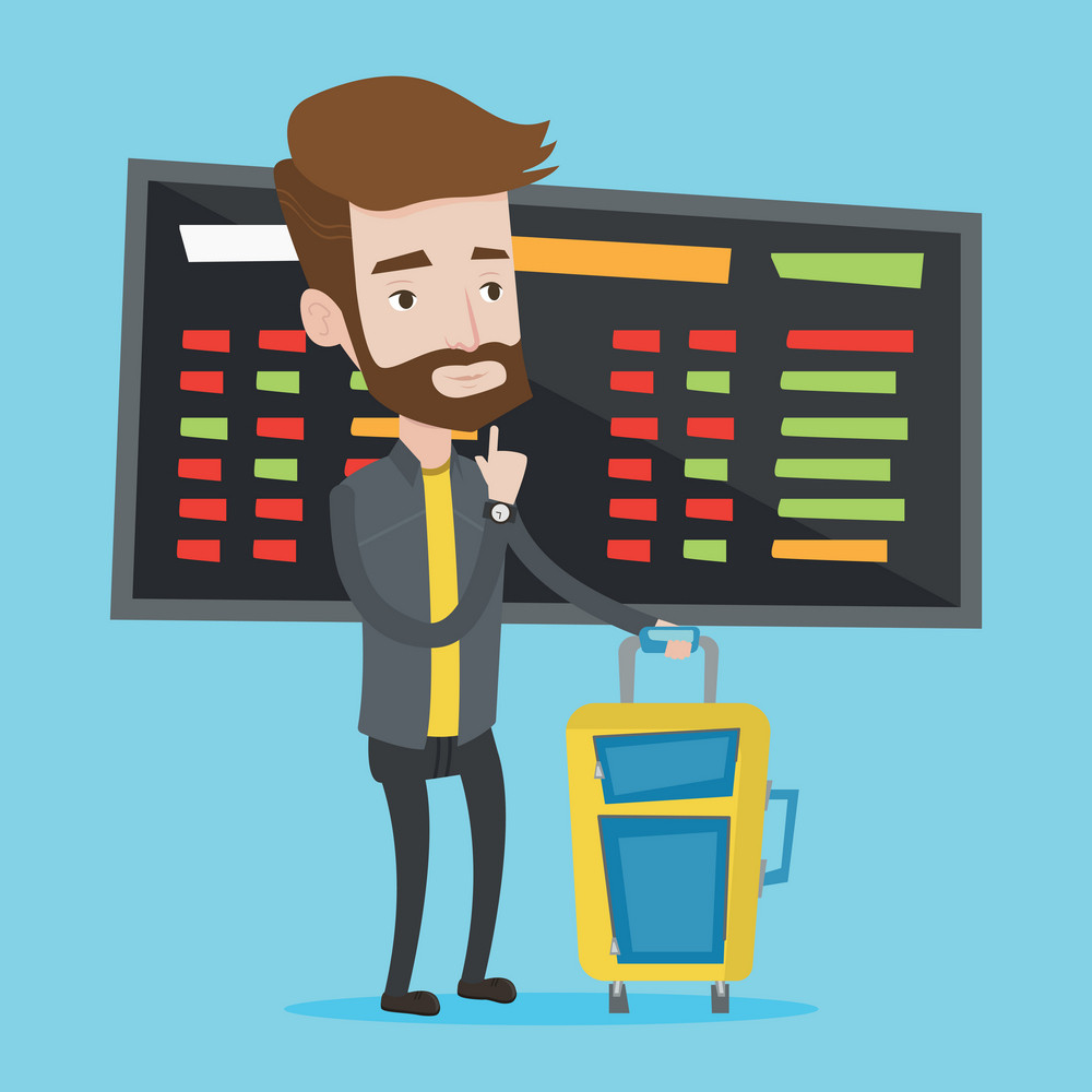Caucasian hipster man with beard waiting for a flight at the airport. Passenger with suitcase standing at the airport on a background of departure board. Vector flat design illustration. Square layout