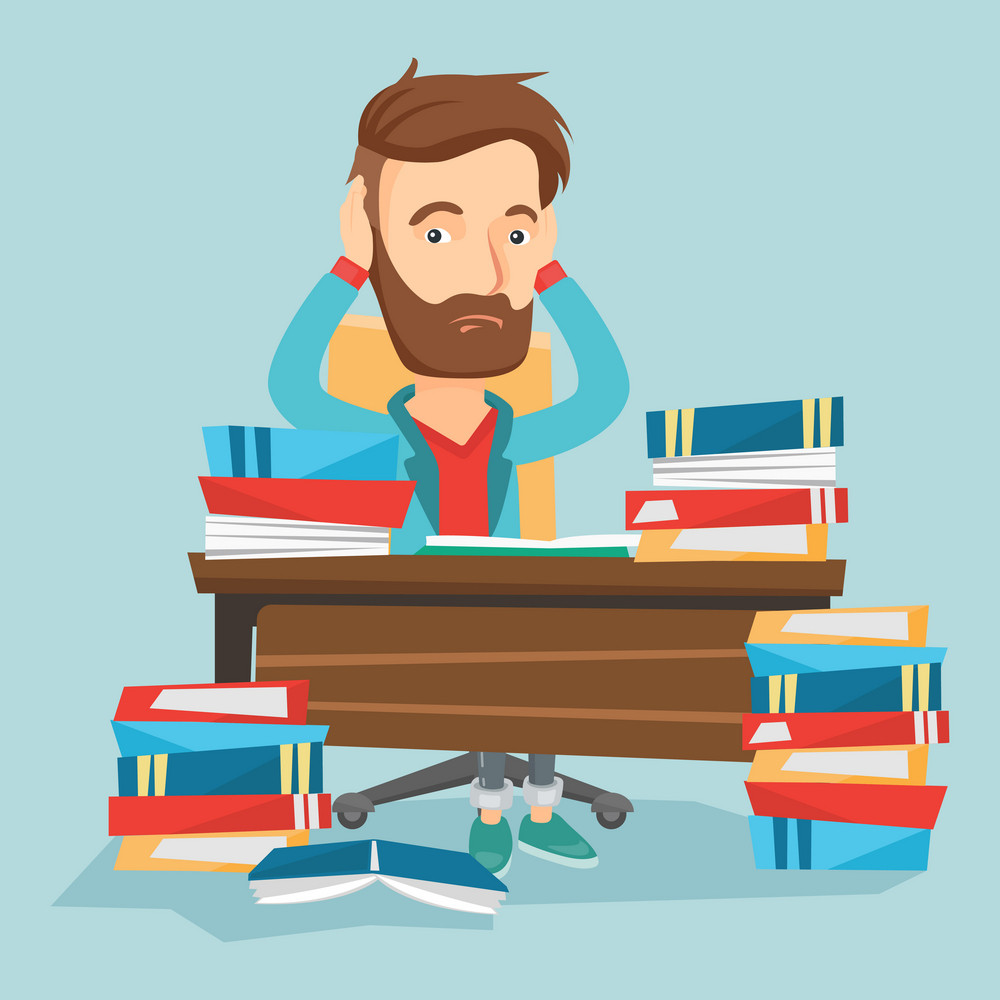 Caucasian hipster student with beard studying hard before exam. Young stressed student studying with textbooks. Desperate student studying in the library. Vector flat design illustration Square layout