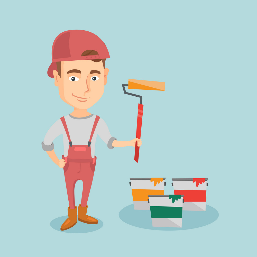 Caucasian house painter in uniform holding paint roller in hands. Young cheerful house painter at work. Smiling house painter standing near paint cans. Vector flat design illustration. Square layout.
