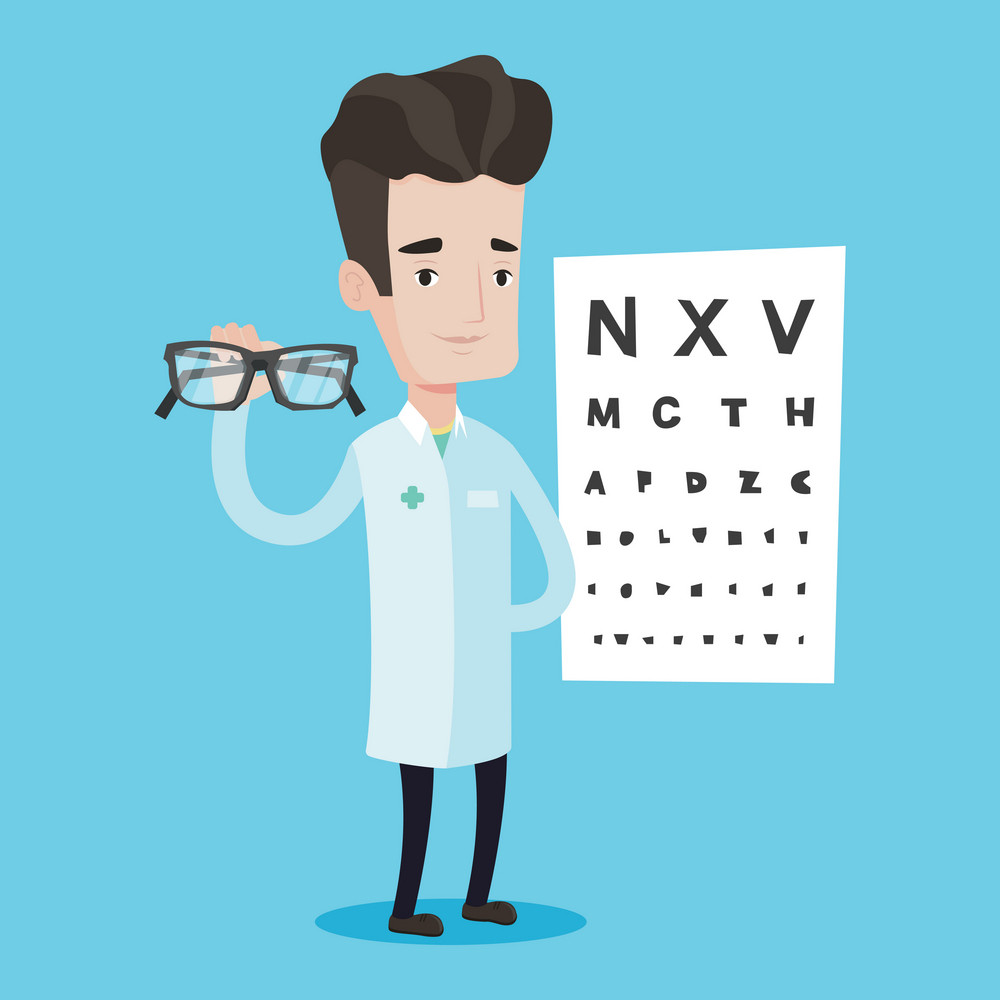 Caucasian male oculist doctor giving glasses. Professional ophthalmologist holding eyeglasses on the background of eye chart. Oculist offering glasses. Vector flat design illustration. Square layout.
