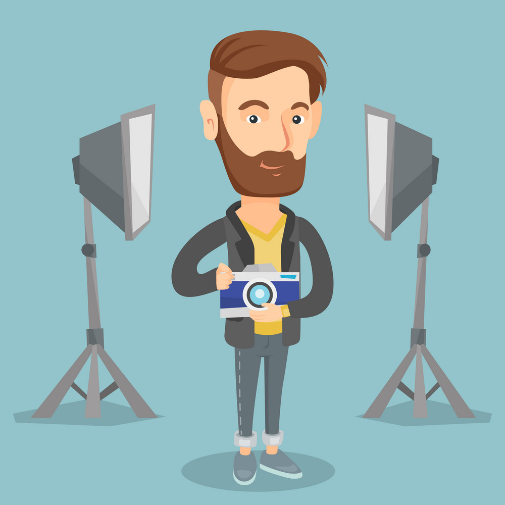 Caucasian male photographer holding a camera in photo studio. Photographer using professional camera in the studio. Young photographer taking a photo. Vector flat design illustration. Square layout.