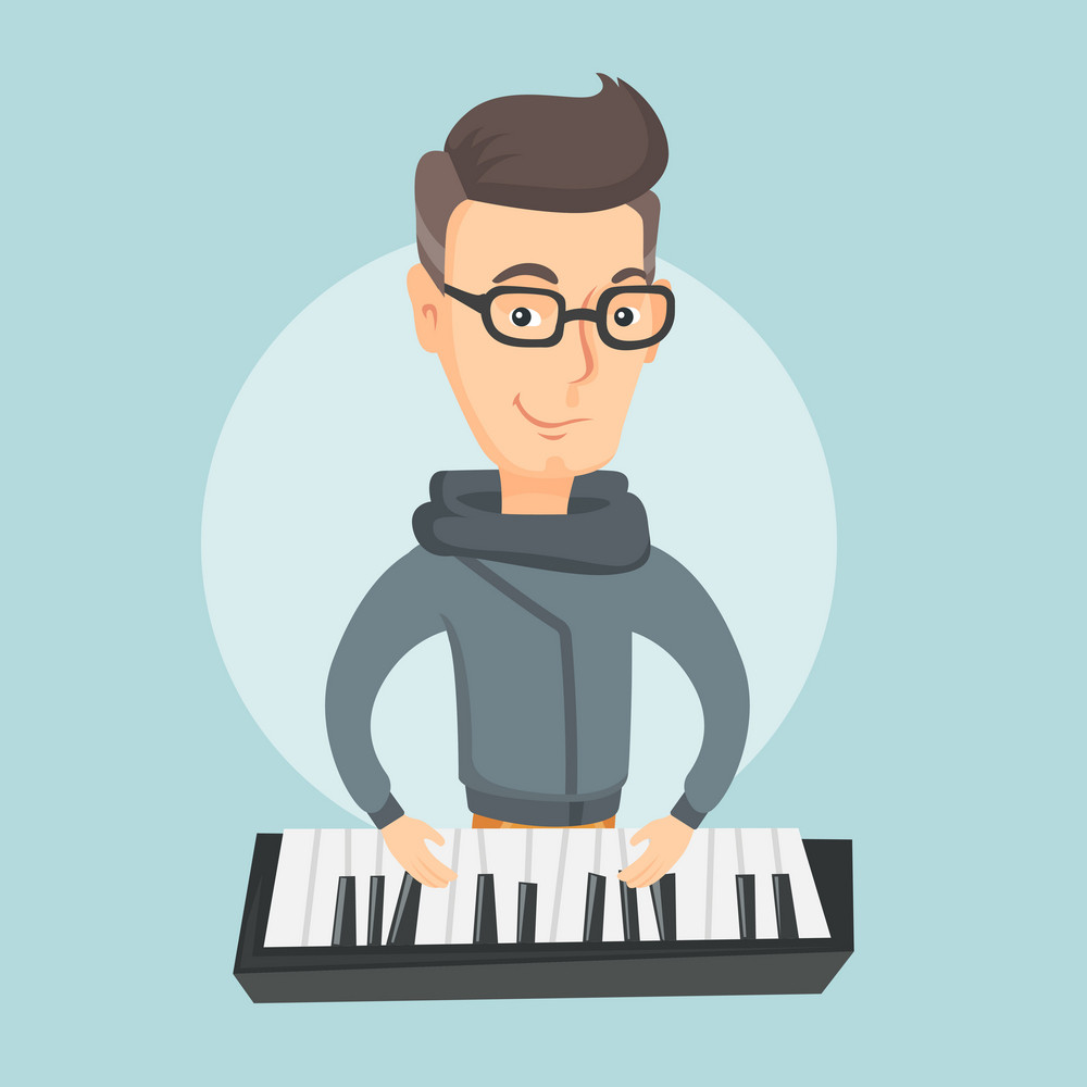 Caucasian male pianist playing on synthesizer. Young smiling musician playing piano. Pianist playing upright piano. Vector flat design illustration. Square layout.