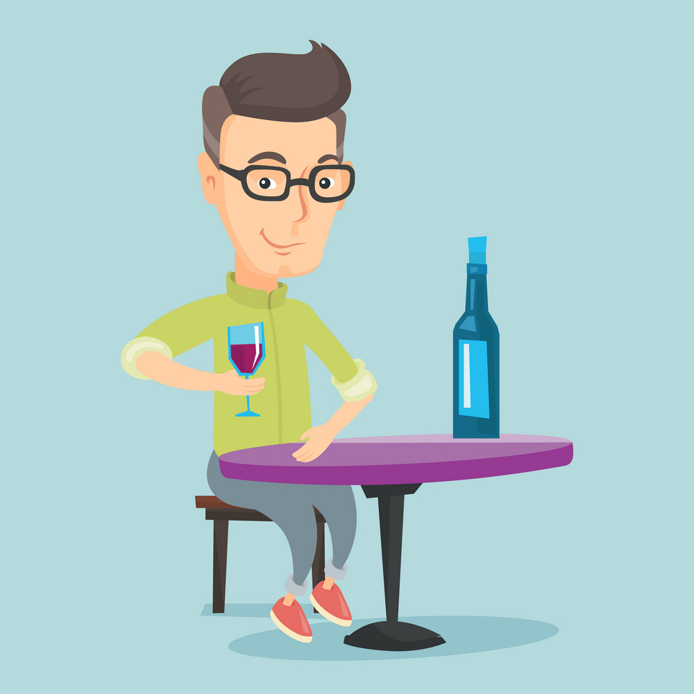 Caucasian man drinking wine at restaurant. Adult man sitting at the table with glass and bottle of wine. Cheerful man enjoying a drink at wine bar. Vector flat design illustration. Square layout.