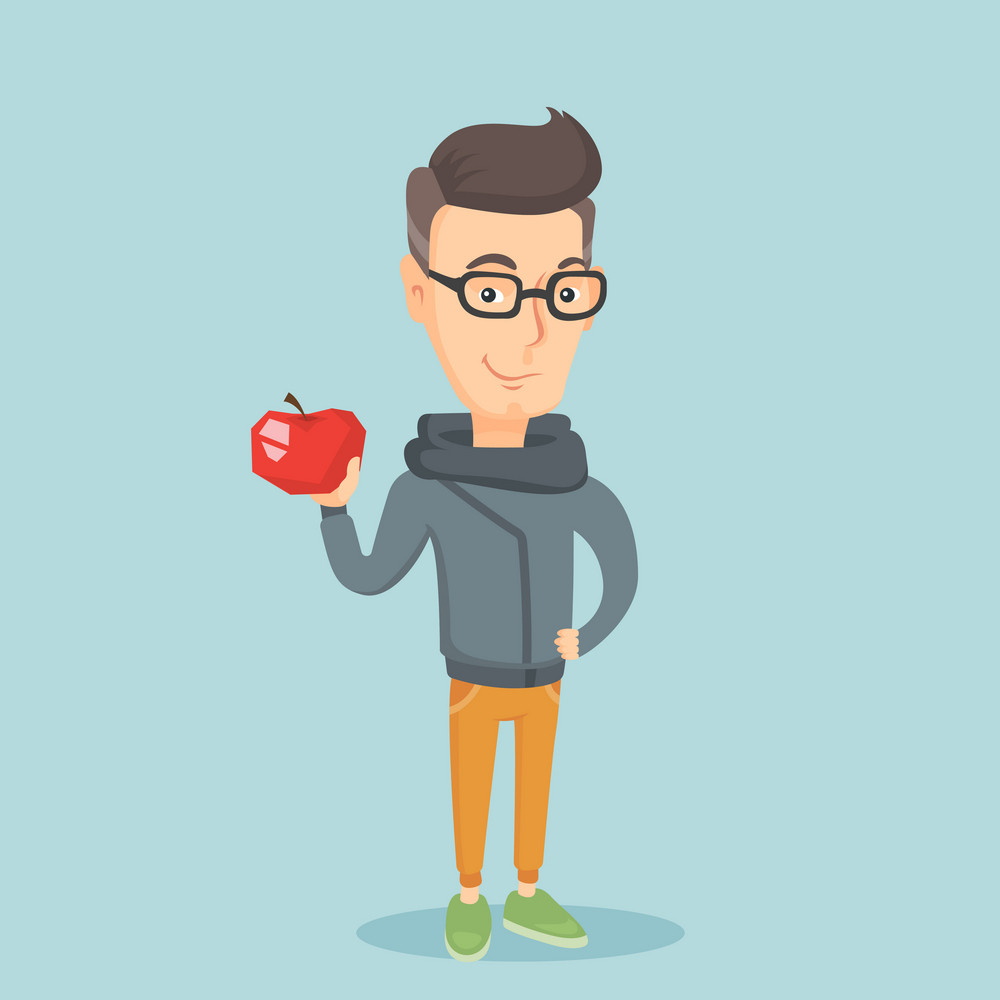 Caucasian man enjoying fresh healthy red apple. Young man holding an apple in hand. Cheerful man eating an apple. Concept of healthy nutrition. Vector flat design illustration. Square layout.
