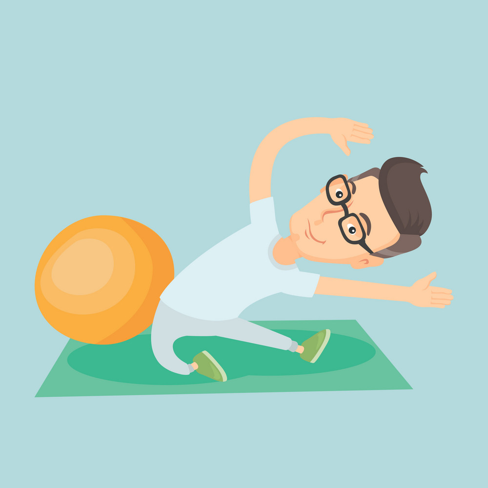 Caucasian man exercising in the gym. Man doing stretching on exercise mat. Sportsman stretching before training. Happy man doing stretching exercises. Vector flat design illustration. Square layout.