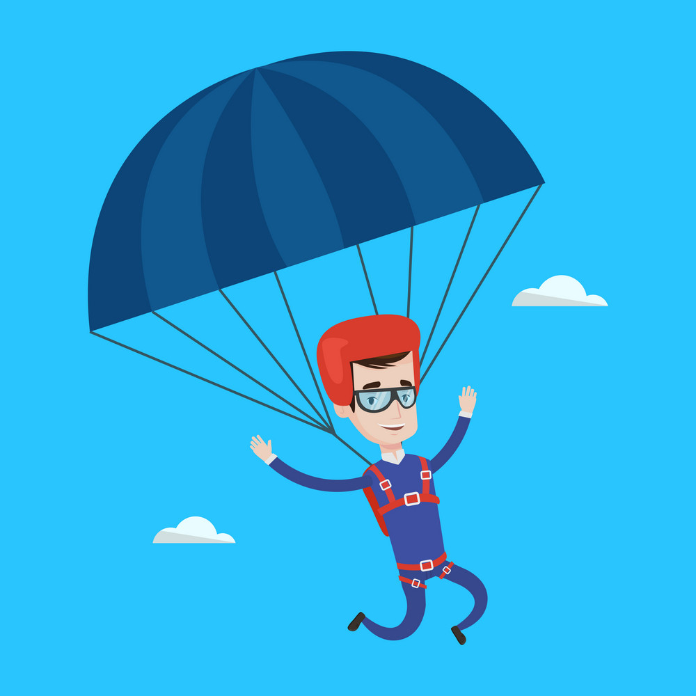 Caucasian man flying with a parachute. Young happy man paragliding on a parachute. Professional parachutist descending with a parachute in a blue sky. Vector flat design illustration. Square layout.