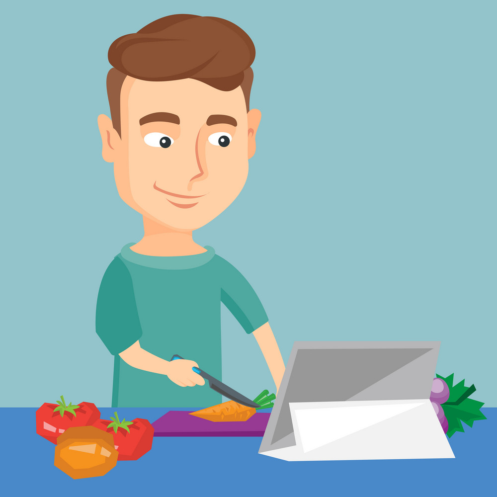 Caucasian man following recipe for vegetable salad on digital tablet. Young man cutting vegetables for salad. Man cooking healthy vegetable salad. Vector flat design illustration. Square layout.
