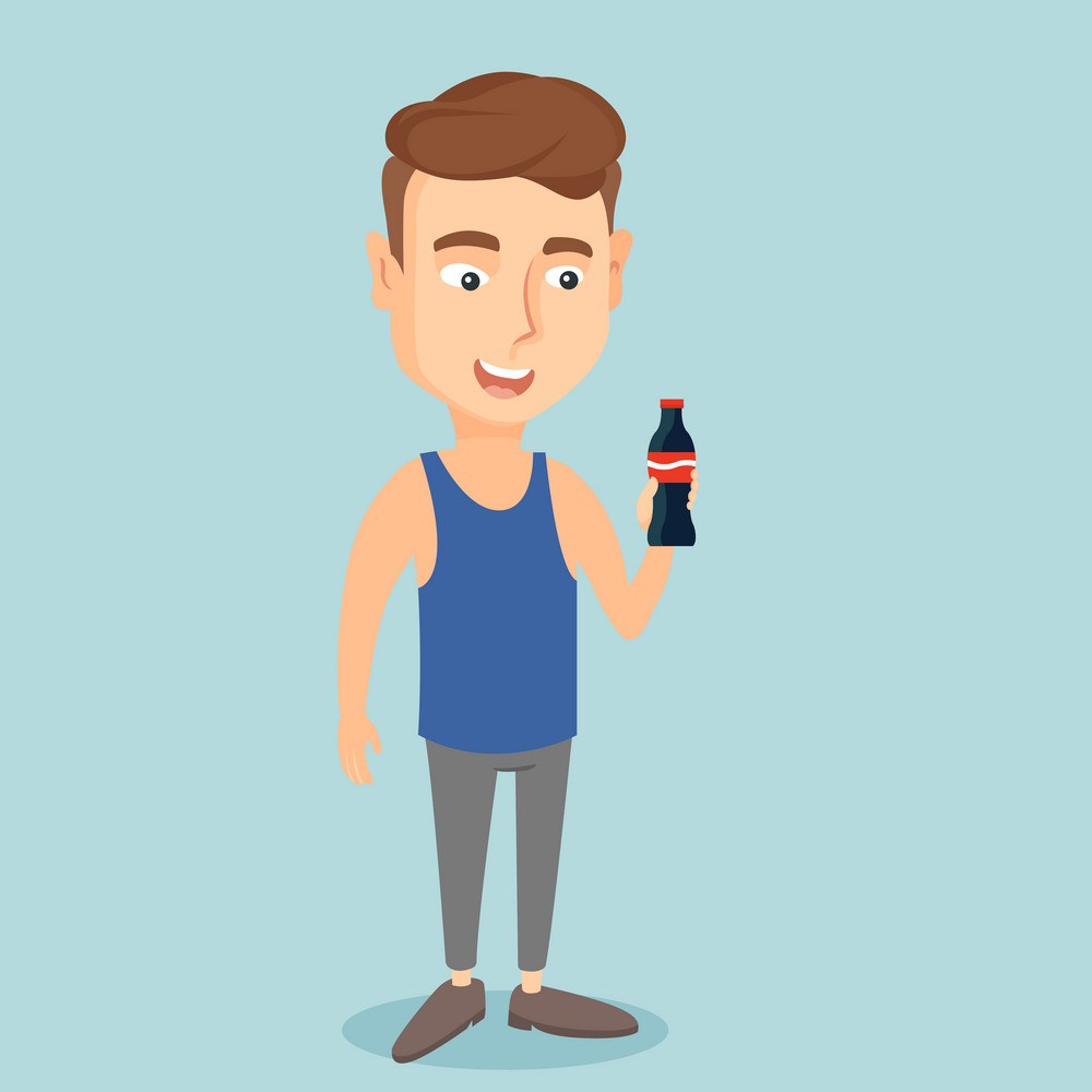 Caucasian man holding fresh soda beverage in glass bottle. Young man standing with bottle of soda. Cheerful man drinking brown soda from bottle. Vector flat design illustration. Square layout.