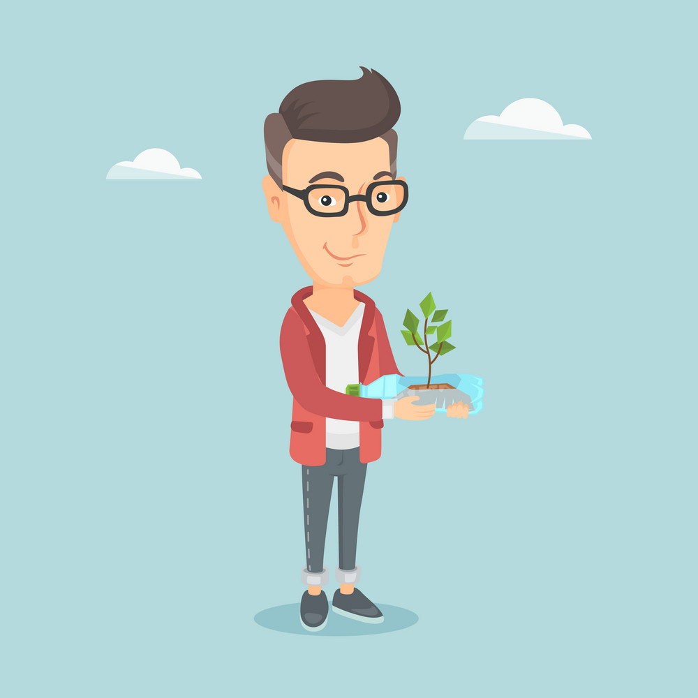 Caucasian man holding in hands plastic bottle with plant growing inside. Man holding plastic bottle used as plant pot. Plastic recycling concept. Vector flat design illustration. Square layout.