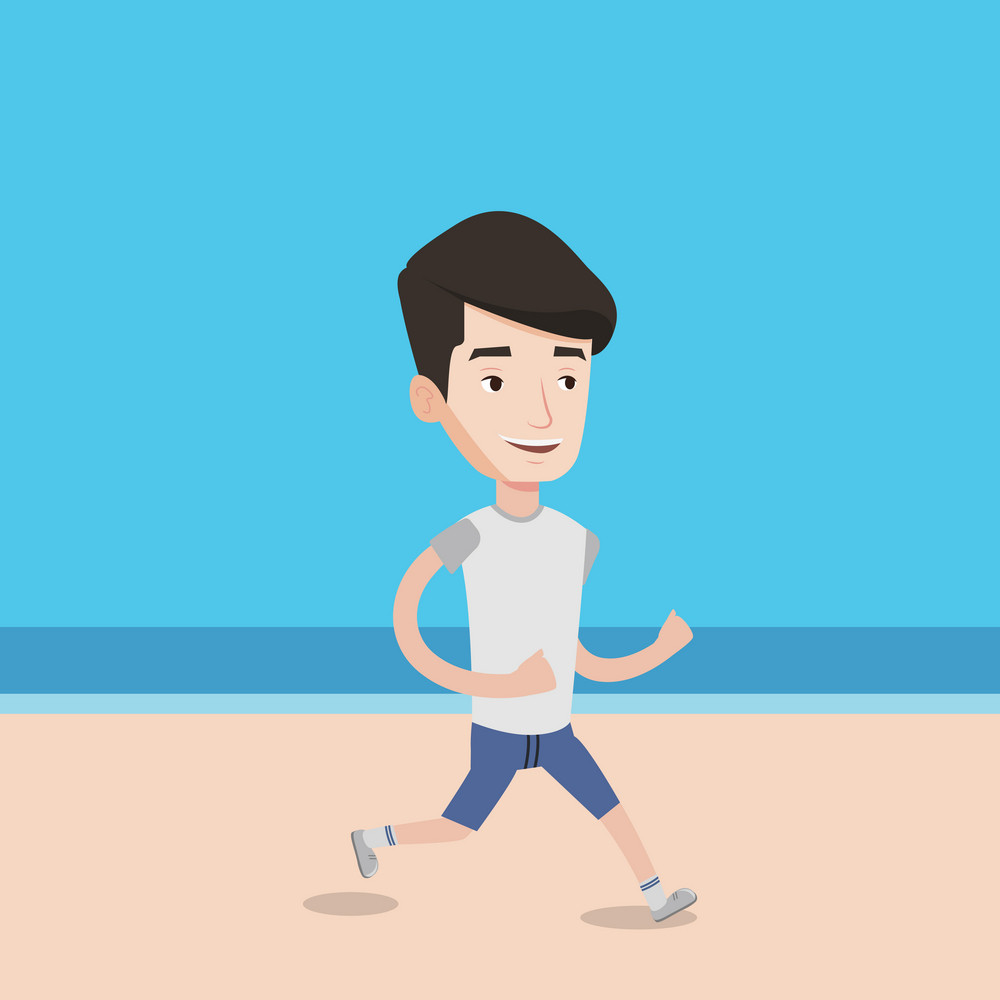 Caucasian man jogging on the beach. Sporty male athlete running on the beach. Young man running along the seashore. Fit man enjoying jogging on beach. Vector flat design illustration. Square layout.