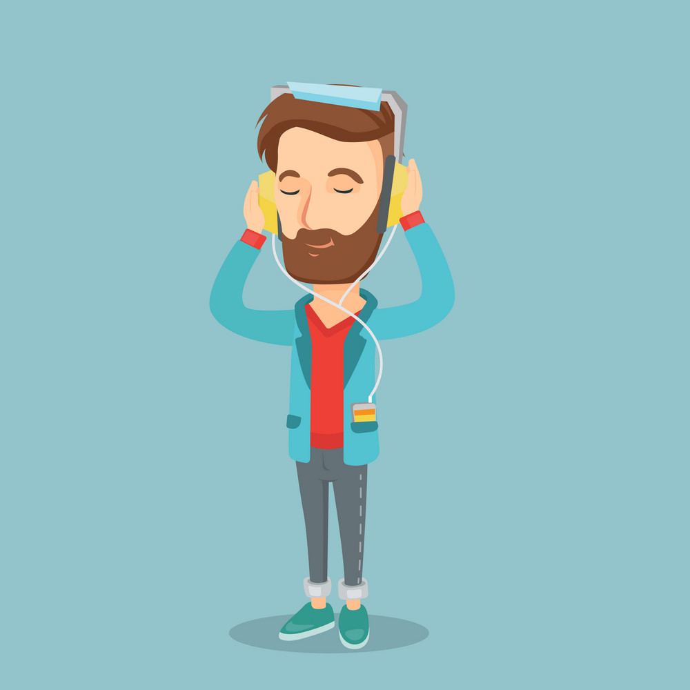 Caucasian man listening to music on his smartphone. Young hipster man in headphones listening to music. Relaxed man with eyes closed enjoying music. Vector flat design illustration. Square layout.