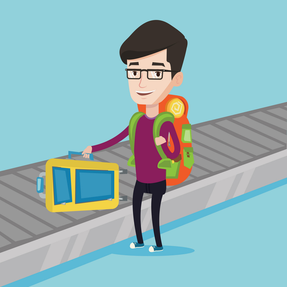 Caucasian man picking up suitcase on luggage conveyor belt at airport. Man collecting his luggage at conveyor belt. Man taking luggage at conveyor belt. Vector flat design illustration. Square layout.