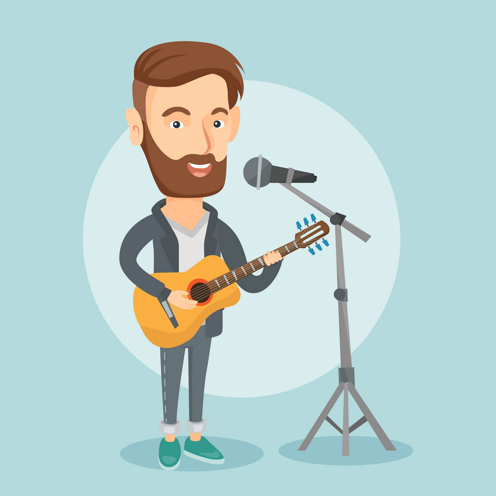 Caucasian man playing guitar. Guitar player singing song and playing an acoustic guitar. Singer singing into a microphone and playing acoustic guitar. Vector flat design illustration. Square layout.